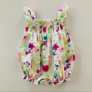 Gymboree Baby Girl Floral Smocked Bubble Romper